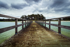 Big bridge towards sand at Henschotermeer. Great carribbean of the Netherland Royalty Free Stock Images