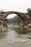 Big bridge with waterfall in Extremadura Royalty Free Stock Image