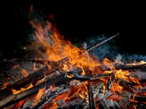 Big Bright Orange Flames in an open fire Royalty Free Stock Image