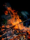Big Bright Orange Flames in an open fire Royalty Free Stock Photos