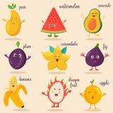 Big bright set of funny cartoon fruits.  Royalty Free Stock Photography