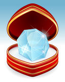 Big brilliant diamond in gift box Royalty Free Stock Image