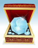 Big brilliant diamond in gift box Stock Photography
