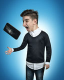 Big and broken mobile phone of comic teenager get out of the han. D and catch with his little hand stock image