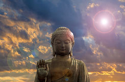 Big Bronze Buddha with Clouds Background Royalty Free Stock Photography