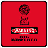 Big brother. Warning big brother is watching you red sign with eye in a keyhole Stock Photo