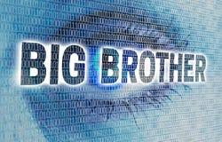 Big Brother-Auge mit Matrix betrachtet Zuschauerkonzept Lizenzfreie Stockfotografie