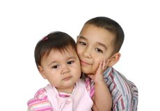 Big brother and baby sister Royalty Free Stock Image