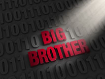 Big Brother in the Computer Code. A spotlight illuminates bold, red BIG BROTHER on a dark background of computer code Stock Photos