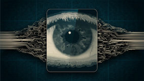 Big brother electronic eye concept, technologies for the global surveillance, biometric retina scan, security of computer systems Royalty Free Stock Images