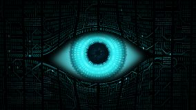 Big brother electronic eye concept, technologies for the global surveillance, security of computer systems and networks. High-tech computer digital technology Stock Image