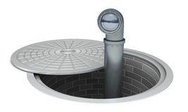 Big Brother is everywhere. Periscope sticking out of a manhole Stock Photos