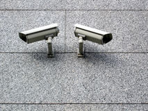 Big brother eyes. Surveillance cameras on the wall of building Royalty Free Stock Photography