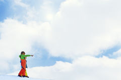 Big brother indicates a landscape to his young brother. In mountain royalty free stock photo