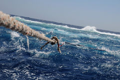 Big Brother Island in the Red Sea. Mooring ropes during a storm Royalty Free Stock Image
