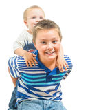 Big Brother And Little Brother Getting Along During Playtime Royalty Free Stock Photo