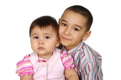 Big brother and little sister Stock Photo