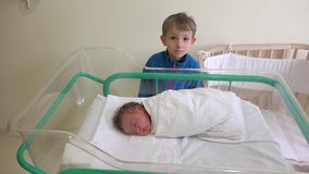 Big brother que olha a seu irmão recém-nascido, bebê que dorme em uma cama no hospital video estoque