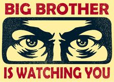 Big brother watching you spying eyes, surveillance and privacy concept vector illustration. Vintage big brother watching you spying eyes surveillance and stock illustration