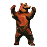 Big brown bear standing on two legs, isolated, watercolor illustration Stock Images