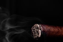 Big brown cigar with ash and smoke Royalty Free Stock Image