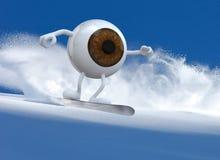 Big brown eyeball snowboarder Stock Images