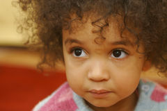 Big Brown Eyes Too. A beautiful mixed race girl with big brown eyes royalty free stock image