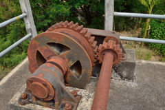 Big brown gears. Large gears on a irrigation station Stock Images