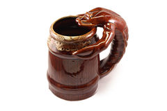Big brown mug of beer. With lobster or crayfish Royalty Free Stock Photo