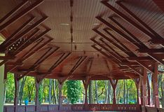 Big brown open wooden dome ceiling.  royalty free stock image