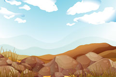Big brown rocks under the blue sky. Illustration of the big brown rocks under the blue sky Stock Photography