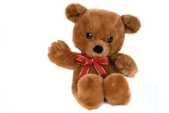 Big brown teddy bear. With a red bow Royalty Free Stock Images