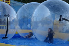 Big bubbles fair attraction on water Stock Image