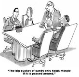 Big Bucket of Candy. Business cartoon about corporate culture. The big bucket of candy helps build morale Stock Photos