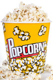 Big bucket of popcorn. Isolated on a white Royalty Free Stock Image
