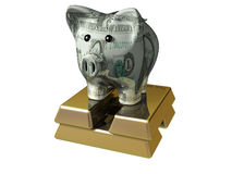 Big Bucks. Piggy bank on top of gold bars isolated on whote Stock Images