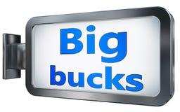 Big bucks on billboard background. Big bucks wall light box billboard background , isolated on white Royalty Free Stock Photos