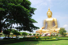 Big budda. Big sitting budda at Wat Muang, Angthong Royalty Free Stock Photos