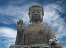 Big Buddha. The Tian Tan Buddha in Hong Kong with a  dramatic sky background. (Photo with clipping path Royalty Free Stock Photos