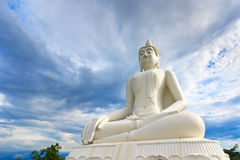 Big Buddha. White big buddha is main point of belive for all people in northeast thailand Stock Photos