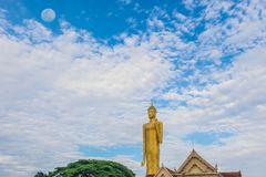 Big Buddha with the beautiful sky cloud, with the beam, light and lens flare effect tone background.The public properties at Wat B. Urabha Temple, Muang District royalty free stock photos