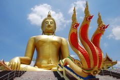 Big Buddha and big Nagas Stock Images
