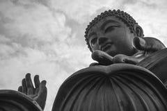 Big Buddha close-up. Lantau island, Hong Kong. Tian Tan Buddha, also known as the Big Buddha, is a large bronze statue of a Buddha Amoghasiddhi, located at Ngong Stock Photography