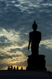 Big Buddha in the evening. Buddha statue silhouette  in the evening Stock Photo