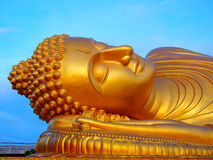 Big Buddha face, Thailand. Big sleeping Buddha statue is located at Lampor temple in Songkhla province, Thailand Stock Image