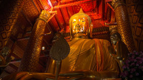 Big Buddha gold in thailand old temple. Royalty Free Stock Photos