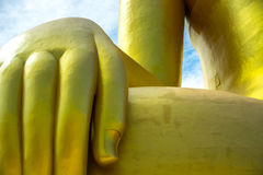 Big buddha golden hand. Big buddha golden hand close up in Thailand Royalty Free Stock Photography