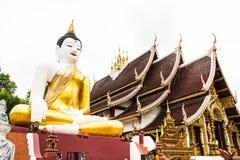 Big buddha image at golden triangle in Ubosot Wat Raja Mon Thian Stock Image