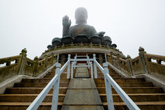 Big Buddha in Lantau Island. Big Buddha or Tian Tan Buddha at the top of grotto which located in Lantau Island of Hong Kong and as one of the most famous tourist Stock Photography