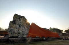 The Big Buddha old at Wat Lokaya Sutha Temple. In Autthaya Thailand Stock Photography